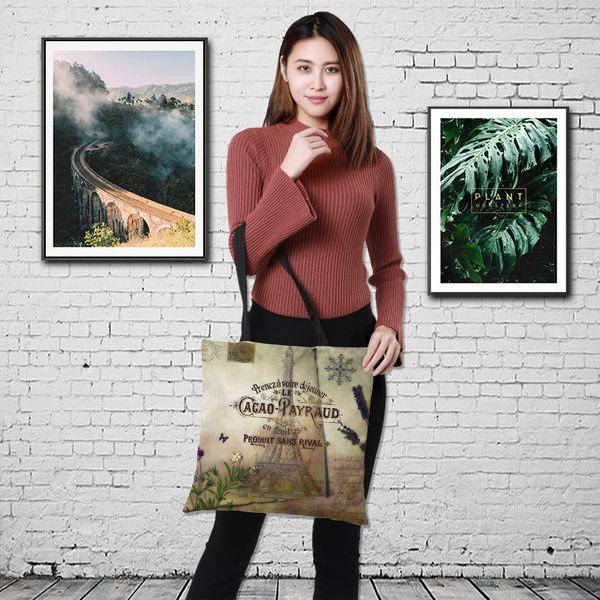 Özelleştirme Çift taraflı Kule Boyalı çanta Kadın Büyük Keten Alışveriş Çantası Çanta Kadın Omuz Bez Kılıfı Seyahat paketi