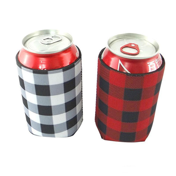 top popular Red Buffalo Check Cooler Bag Wholesale Blanks Neoprene Black Red Plaid Can Covers Wedding Gift Tin Wraps 2021