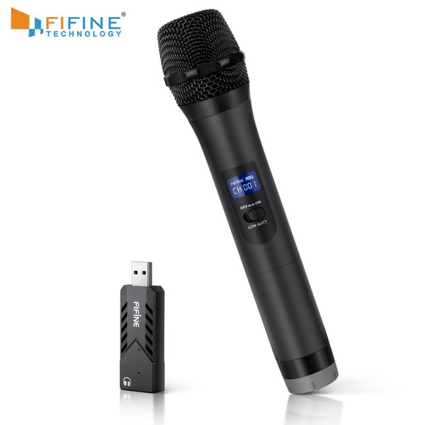 FIFINE Wireless UHF Handheld Dynamic Microphone with USB Receiver Output to Laptop or PC Phone PAD for Software Recording K026-1