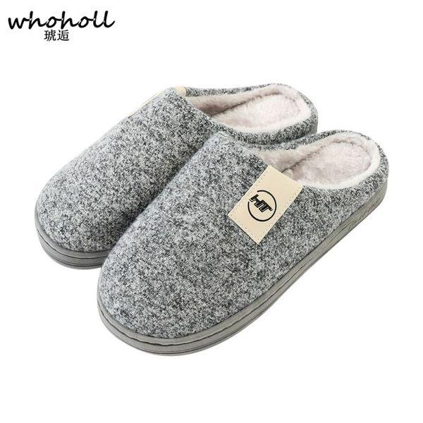 WHOHOLL New Arrival Men Home Slippers Shoes Solid Winter Antiskid Woolen Wrap Toe Footwear Fur Slippers for Men