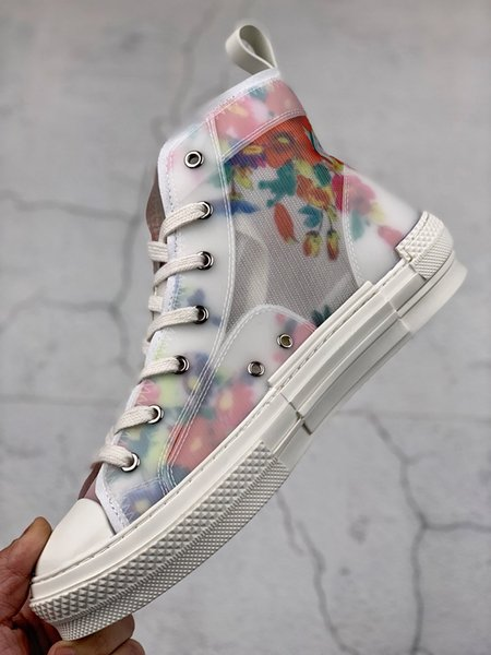 Les dernières chaussures décontractées blanches de haut-bas d'impression transparente de luxe dames haut-bas baskets en toile hommes et les femmes de la mode chaussures de sport