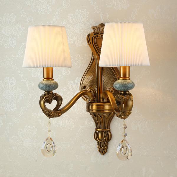 Modern Avrupa Kristal Duvar Işık Pirinç Renk 1 / 2lamps Modern E14 LED Kristal Aplik Yatak Odası Aplik Aydınlatma Banyo Ev Dekorasyonu