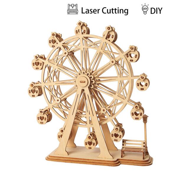 Vente en gros DIY 3D Laser Cutting En Bois Grande Roue Puzzle Jeu Cadeau pour Enfants Modèle Kits De Construction Populaire Jouet TG401