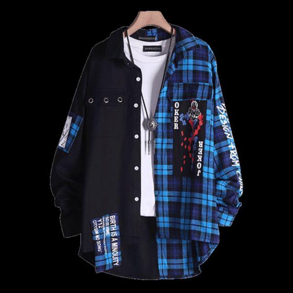 Хип-хоп Пэчворк Повседневная рубашка Мужская рубашка с длинным рукавом Японская уличная рубашка в клетку Harujuku Dropshipping 2018 50R0005