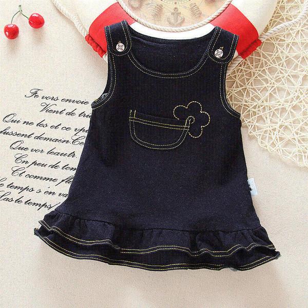 хорошее качество девушка платье лето 2019 Новые дети девушка слинг джинсовые платья принцессы для детей день рождения одежда Одежда для 1-4Y