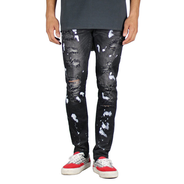 Men Jeans Fashion Design Stretchy Paint Ripped Jeans