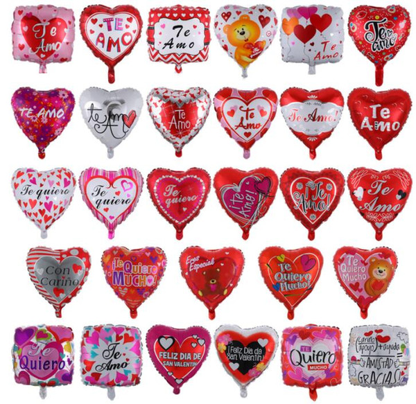 18Inch Spanish Valentine's Day Ballons I love you Wedding Party Balloons Decorative Aluminum Film Birthday Balloon Children Toy GGA3178-4
