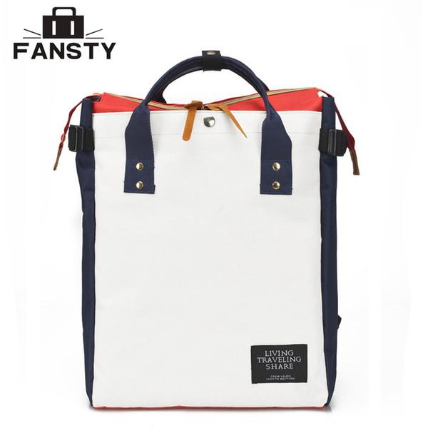 Bolsas de equipaje Mochilas Estilo japonés Preppy Mujeres Mochila escolar de forma cuadrada Lady Canvas Totes Bolsa de viaje Mochila Mujer Ladrge Capaci ...