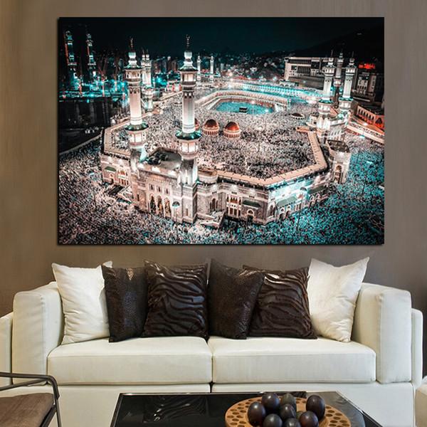 Moderne Print Islam Pilgerfahrt nach Mekka Heilige Moschee Nacht Landschaft auf Leinwand Wandmalerei für Wohnzimmer Sofa Cuadros Decor