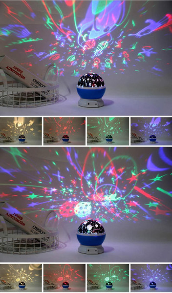 2019 Free DHLNew Year S Gift Christmas Gift Remote Control Round Star Light Projection Led Dream Seven Color Rotary Bluetooth Sound Night Light From
