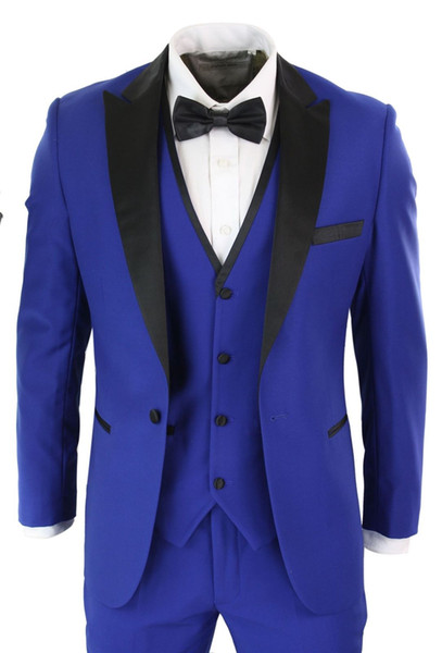Royal Blue Mens Suits With Black Shawl Lapel 3 Pieces Jacet Pants Vest Custom Made Top Quality Wedding Tuxedos Groom Wear