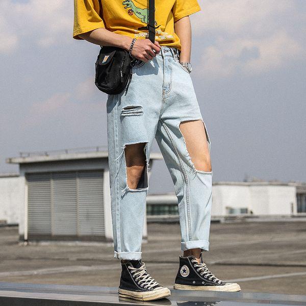 2019 New Fashion Wild Youthful Jeans Fashion Big Hole Denim Pants Handsome Comfortable Nine Points Pants Size S-2XL