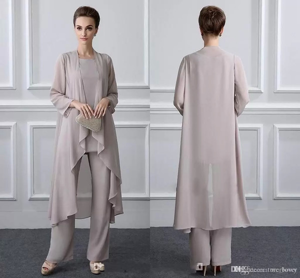 Simple Mother Of The Bride Pant Suits With Jacket Chiffon Beach Wedding Guest Groom Dresses Cheap Mothers Outfit Long Garment
