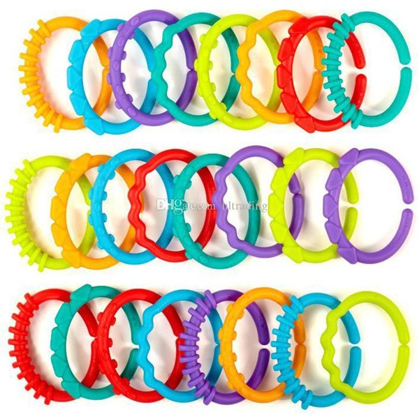 Baby teether toys infant rattle colorful rainbow rings crib bed stroller hanging decoration educational toys for kids C6887