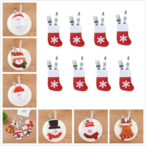 top popular 11 styles Christmas knife fork bags Christmas candy bags Christmas decorations small snowman elk and Santa creative home tableware sets 2019