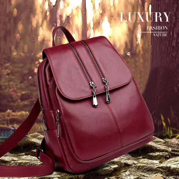 2019 Brand New Laptop Backpack Women Leather Luxury Backpack Women Fashion Backpack Satchel School Bag Pu J190425