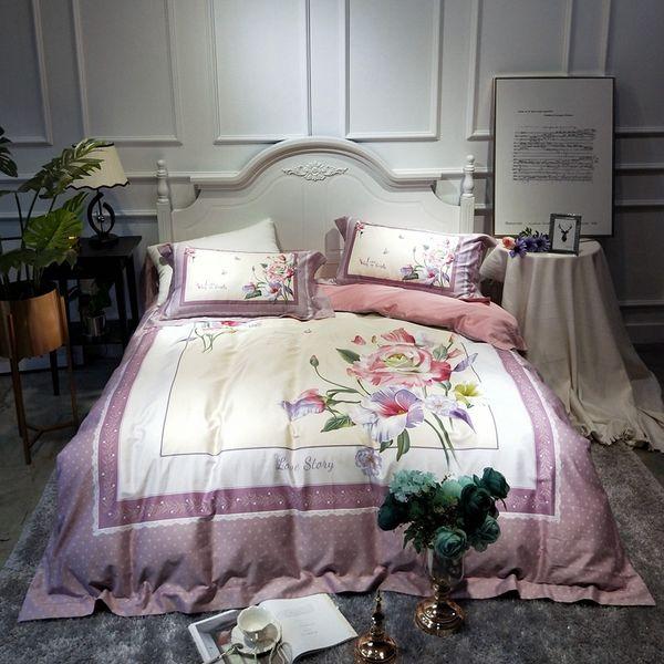 Luxury Egyptian cotton floral princess bed Sheets Linen purple long staple Bedding Set Pastoral set queen king size duvet cover