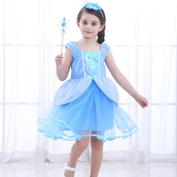 Kinder Meerjungfrau Prinzessin Mädchen Kleider Tüll Kleid Cosplay Kostüm Blau DE