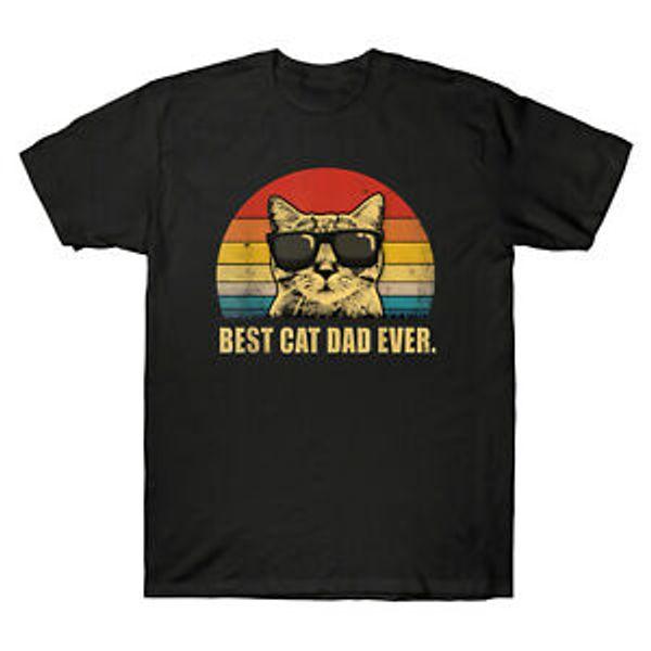 En iyi Kedi Baba Hiç Güneş Gözlüğü Retro Vintage Kedi Komik Erkekler 039 s T Gömlek Pamuk Tee