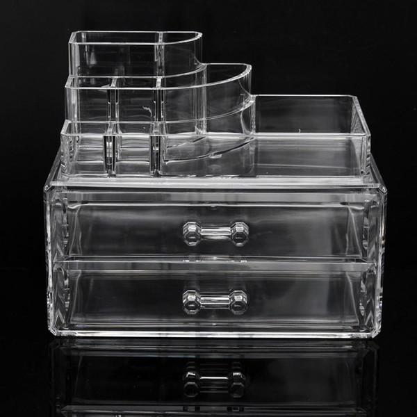 2 layer Clear Acrylic Makeup Storage Case Nail Polish Rack Lipstick Cosmetic Storage box Holder Makeup Brush Organizer