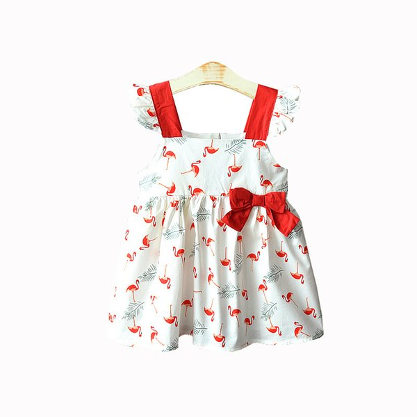 Kids Girl Summer Dress Little Girl Summer Party Printed Dress Strap Flying Sleeve Bow Decoration Crane Printing Lined Dress 2 Colors