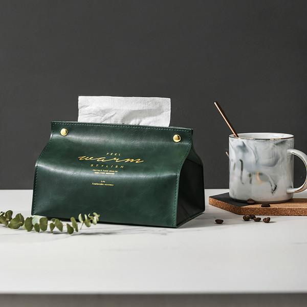 2019 Encantador PU Servilleta plegable de cuero Caja de almacenamiento de papel Buena apariencia Decoración de mesa Decoración Caja de pañuelos