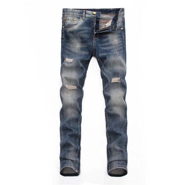 Fashion New BALMA Rock Renaissance Jeans Europe and the United States street style boys hole embroidered jeans men jeans