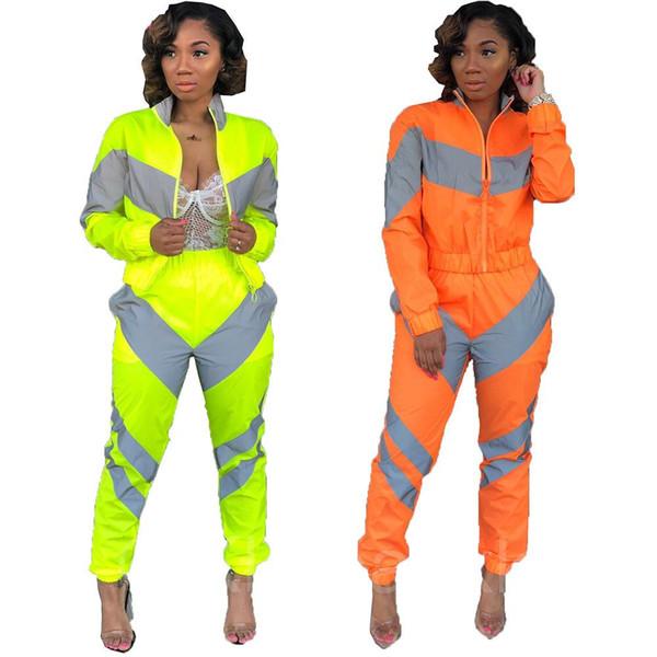 Çizgili Yansıtıcı Eşofman Kadın Moda Fermuar Mahsul Tops + Kalem Pantolon Kadın Balıkçı Yaka Rahat Iki Parçalı Set