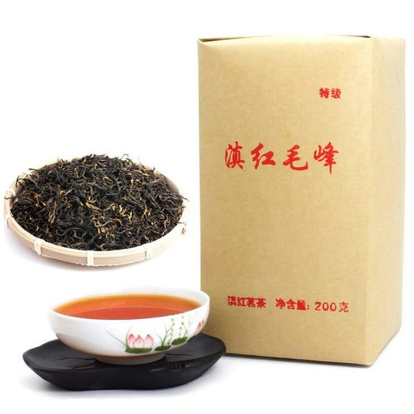 top popular 200g Dian Hong maofeng Tea Large Congou dianhong Black Tea Premium red Tea Chinese Mao feng dian Hong Famous yunnan Green Food 2019