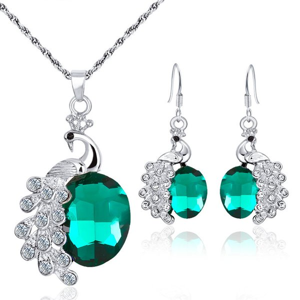 Modyle Crystal Peacock Jewelry Sets Bride Wedding Necklace Earring Set Rhinestone Silver Color Round Pendant Women Accessories