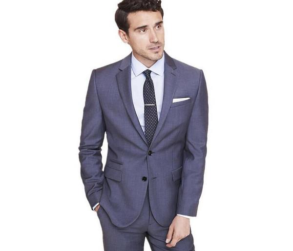 Nueva Moda Dos Botones Raya Gris Novios Esmoquin Padrinos de Boda Solapa Mejor Hombre Blazer Trajes de Boda Para Hombre (Chaqueta + Pantalones + Corbata)