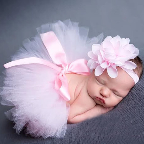 2019 hot saleTop Baby Girl Tulle Tutu Skirt and Flower Headband Set Newborn Photography Props Baby Birthday Gift 10 Colors
