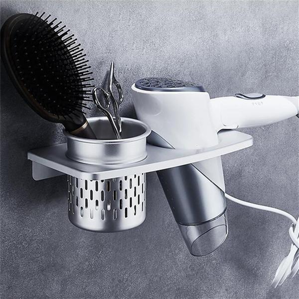 Espiral Wall Mounted secador de cabelo Armazenamento Organizer rack Titular Hanger Usando no banheiro do salão de beleza do estilista ferramenta Secador Organizar acessórios de casa de banho