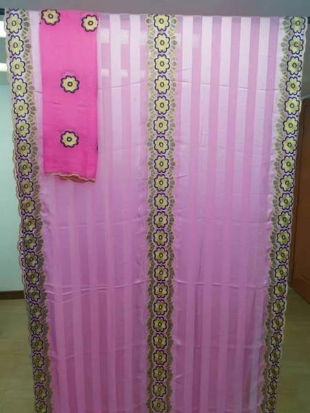 5 ярдов новая мода розовый африканский шелк кружевной ткани вышивка и 2 ярдов французская блузка кружева набор для платья HZ3-2