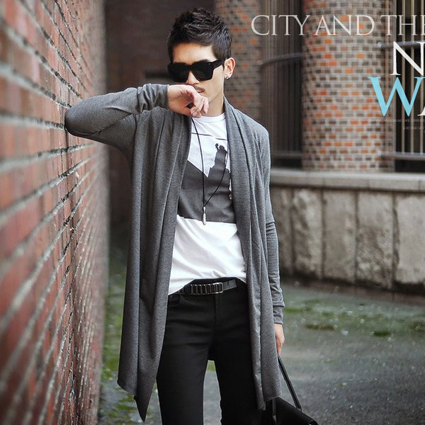 Men Casual Cardigans Long Autumn Slim Fit Sweaters Shawl Collar Sweater Solid Color Spring Men Open Stitch Trench Coat Plus Size Clothing