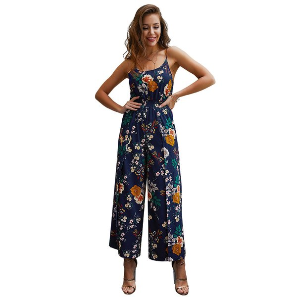 Factory direct supply original design boutique women's summer explosion models 2019 printing straps jumpsuit fashion casual style