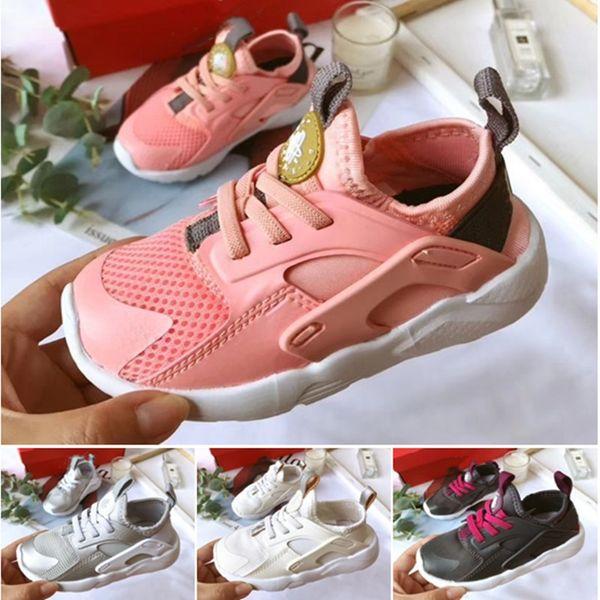 online store 3f36d 88c8b 2019 New Air Huarache Running Shoes Trainers Kids Boys Girls Pink White  Outdoors Shoes Huaraches Sneakers 22 35 Sneakers For Kids Triathlon Running  ...