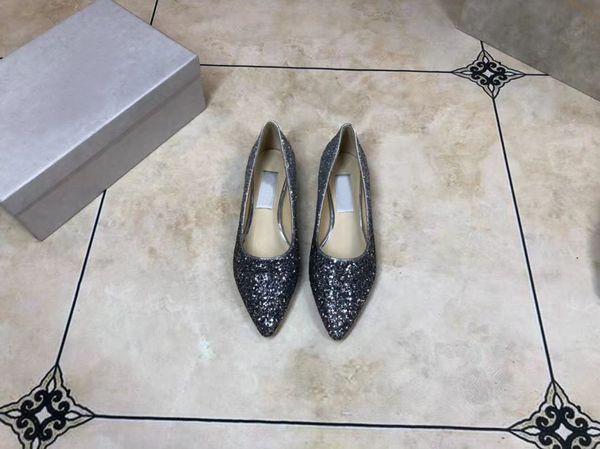 Classic J6305 women's wear brand high heel leather toe dress shoe luxury light high quality sequins, inner sheepskin wedding dress, heel hei