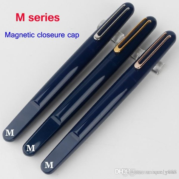 Einzigartiges Design 4 Farben Magnetverschlusskappe Brunnen / Rollerball Luxus M B Tintenstift für Briefpapier Schreiben neuer tiefblaue Harz Clip