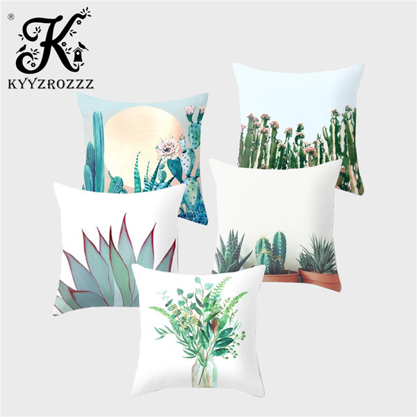 KYYZROZZZTropical Plant Cushion Cover Cactus Leaf Polyester Hibiscus Flower Printing Car Sofa Home Decoration Throw Pillowcase