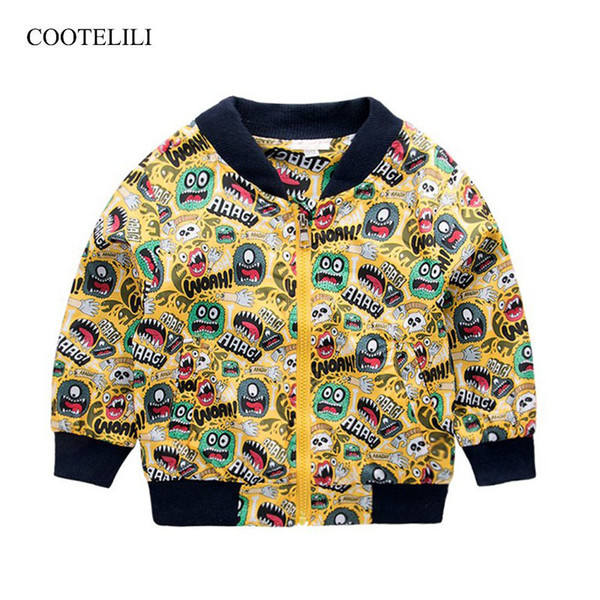 COOTELILI 80-130cm Fashion Printing Windbreaker Kids Clothes Spring Baby Jacket For Boys Autumn Girls Cool Outerwear Coats