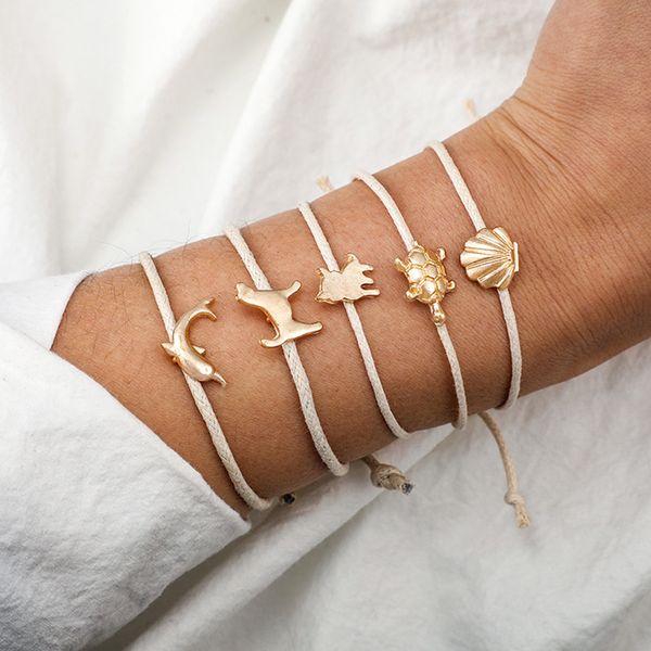 Bohemian Cute Gold Cat Turtle Dolphin Shell Dog Bracelets For Women Girls Beige Rope Chain Bracelets Sets Jewelry Gifts 30H