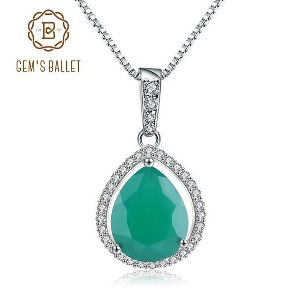 GEM'S BALLET Water Drop Shape Natural Green Agate 925 Sterling Silver Gemstone Pendant Necklace for Women Classic Fine Jewelry