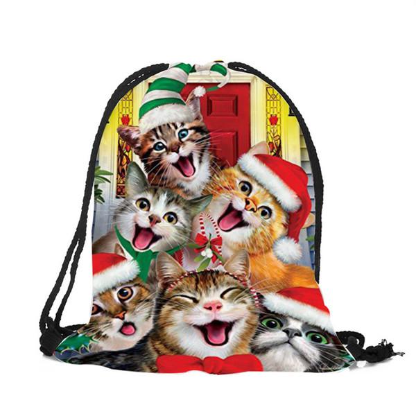 Einzigartige Praktische Casual String Umhängetasche Cartoon Lächeln Katze Kunstdruck Polyester Kordelzug Rucksack Geschenktüte Pack Für Mädchen