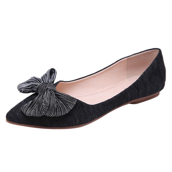 Kadın Düz Ayak Bileği Ayakkabı Yüksek Kalite Sığ Ağız Tek Ayakkabı Seksi Rahat Ipek Yay Düz Çalışma Vahşi Bayanlar