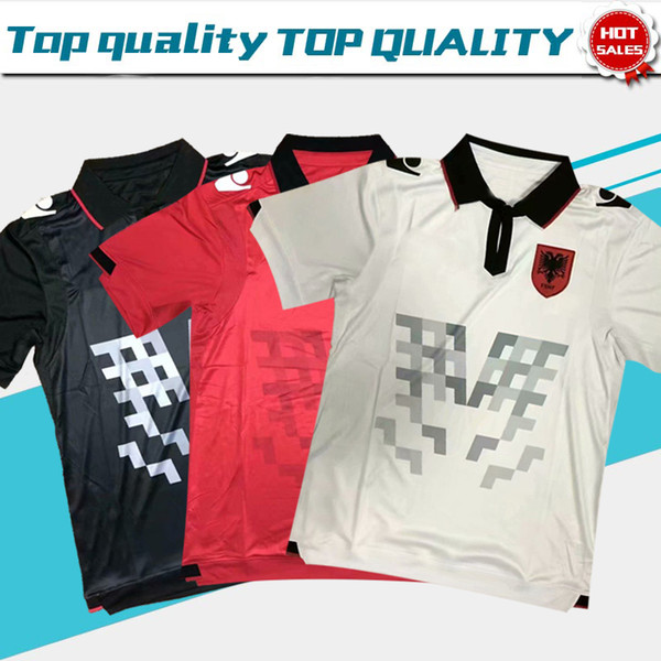 2019 Albanian Home White Away Black Soccer Jersey Camicia per adulti 19/20 Third Red football uniform Albanian Soccer Clothing On Sales