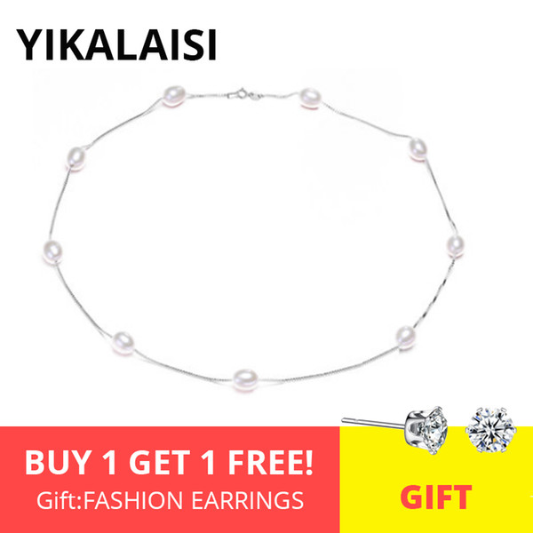 ashion Jewelry Necklace YIKALAISI 925 Sterling Silver Chain Natural Pearl Chokers Necklaces Jewelry For Women 7-8mm Pearl Necklaces Acces...