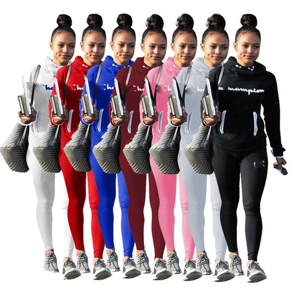 Femmes Champions Lettre Survêtement Survêtements Pantalons Leggings Joggeurs Ensemble hiver automne Outfit 2 pièce Sportswear Marque Vêtements de sport costume New