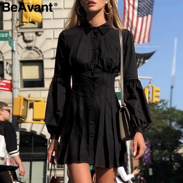 Bimant Ladies Office Donna Summer Shirt manica lunga Vintage pieghettato elegante A Line Button Casual abito corto nero C19040402
