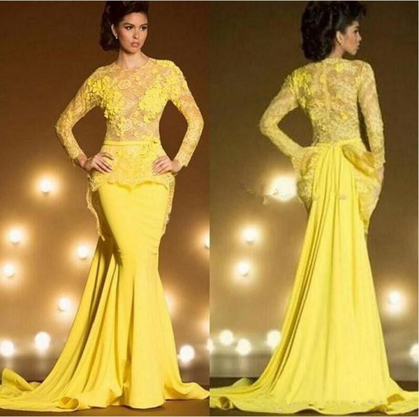 Saudi Arabia Dubai Mermaid Elegant Evening Dresses 2019 NEW Sexy Yellow Formal Prom Gowns Kaftan Lace Long Sleeve robe de soiree